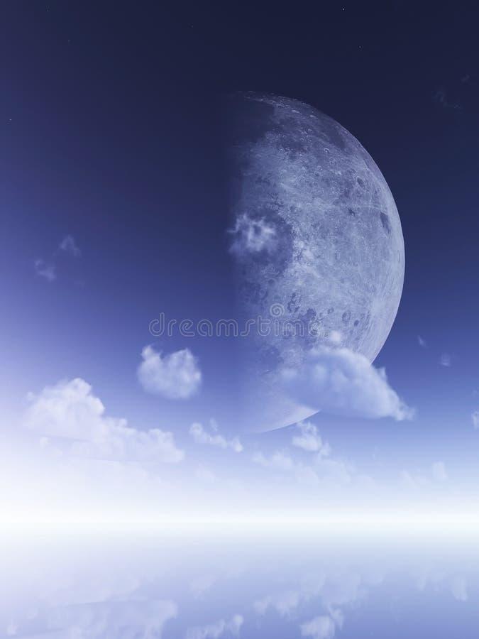 Download Glowing moon stock illustration. Image of ocean, beautiful - 11665316