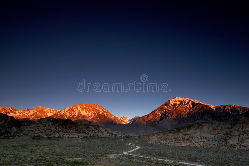 Glowing mountains stock photography