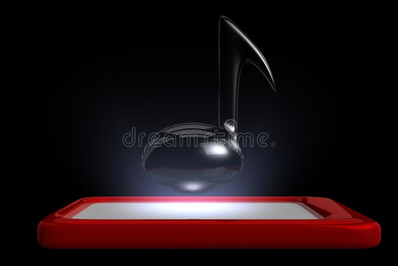 Glowing Music Note On Top Of A Touch Pad Stock Image