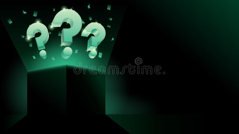 Glowing mystery gift box with question dark modern style banner or business presentation royalty free illustration