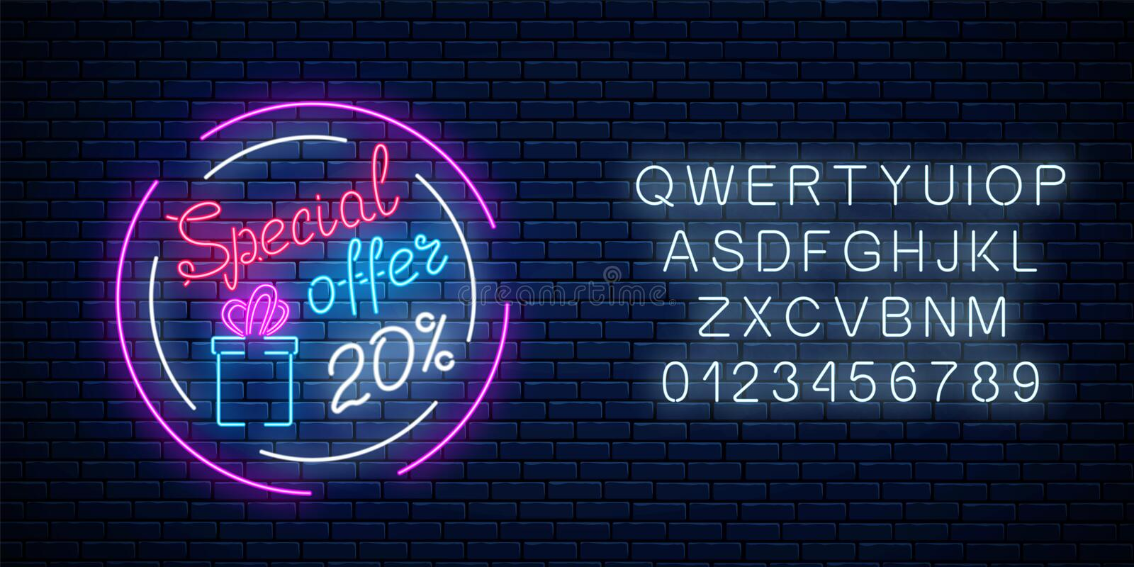 Glowing neon banner of big sale sign with alphabet. Special offer symbol of spring world women holiday royalty free illustration