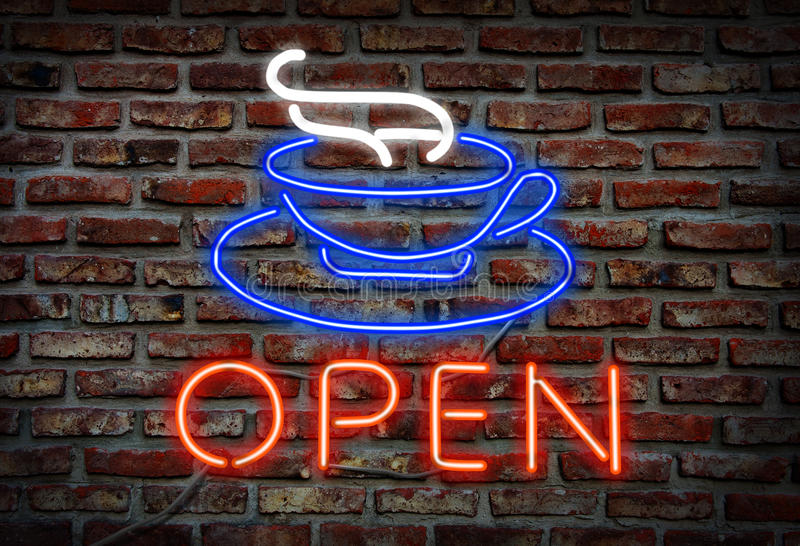 Download Glowing neon Cafe sing. stock illustration. Image of shop - 28727123
