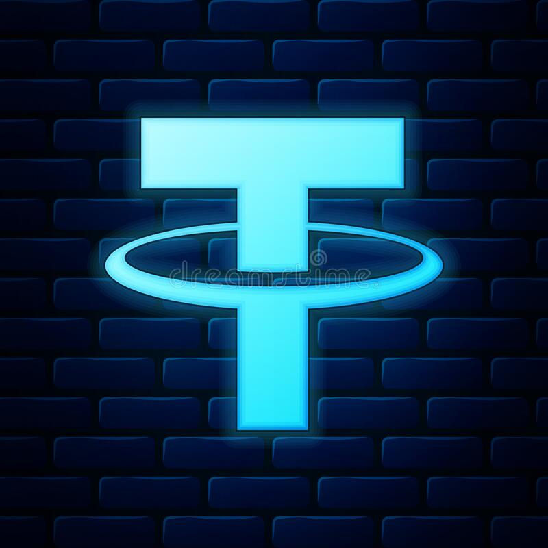 Free Glowing Neon Cryptocurrency Coin Tether USDT Icon Isolated On Brick Wall Background. Physical Bit Coin. Digital Currency Royalty Free Stock Image - 182368576