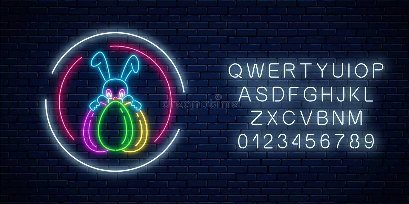 Glowing neon easter bunny with eggs sign in circle frames with alphabet. Night greeting banner with easter rabbit vector illustration