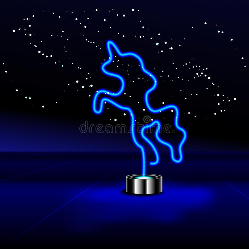 Glowing Neon effect sign with blue Unicorn. Night club or bar concept. Night bright signboard, Glowing light banner. On dark background. editable vector stock illustration