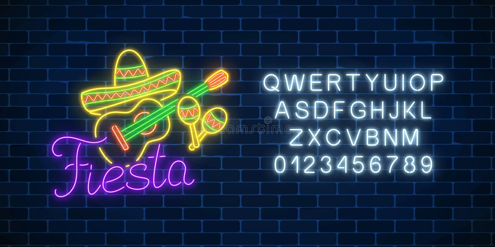 Glowing neon fiesta holiday sign with alphabet. Mexican festival flyer design with guitar, maracas and sombrero hat. Glowing neon fiesta holiday sign on dark royalty free illustration