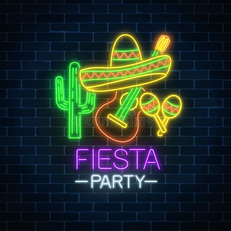 Glowing neon fiesta holiday sign. Mexican festival flyer design with guitar, maracas, sombrero hat and cactus. Glowing neon fiesta holiday sign on dark brick royalty free illustration