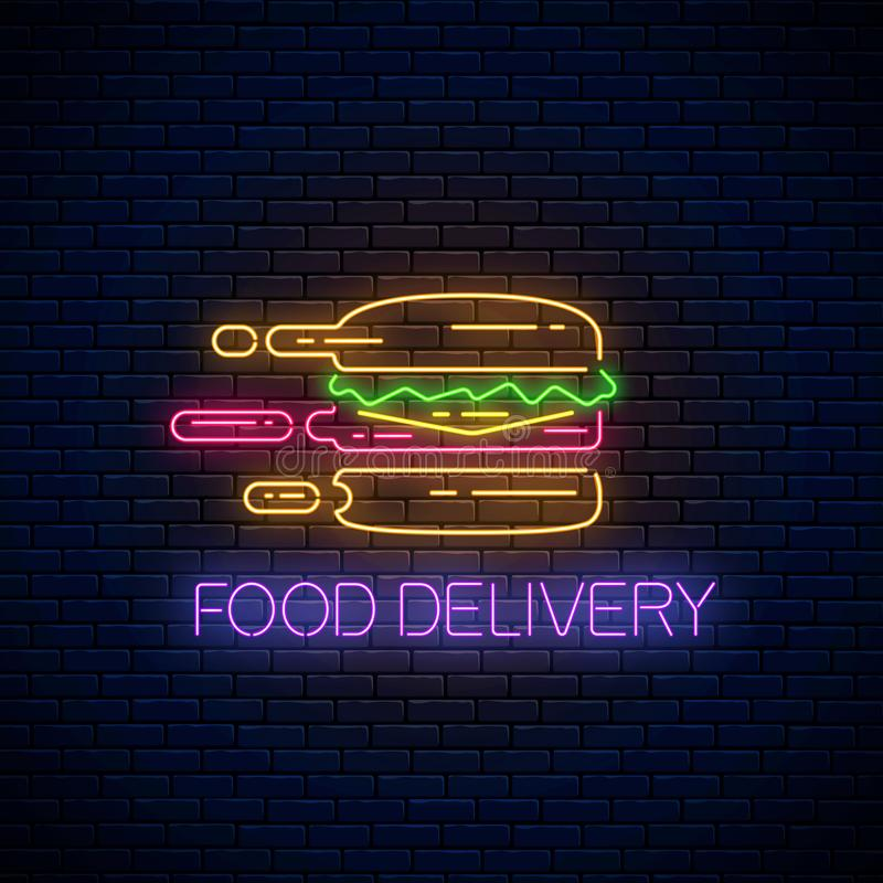 Glowing neon food delivery sign with hurrying burger. Fast delivery symbol in neon style. Fast food concept illustration stock illustration