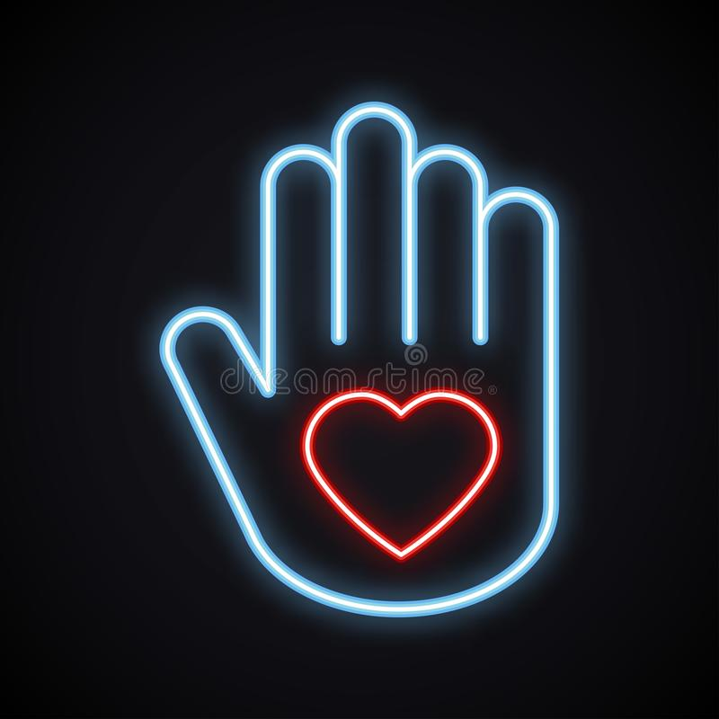 Glowing neon hand with heart sign. Bright charity symbol. Light love, relationship, peace, volunteer, help, care stock illustration