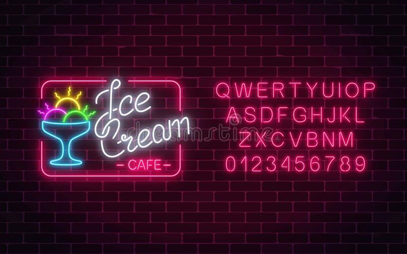 Glowing neon ice cream cafe signboard with alphabet. Gelato balls in bowl. City neon advertising street stock illustration