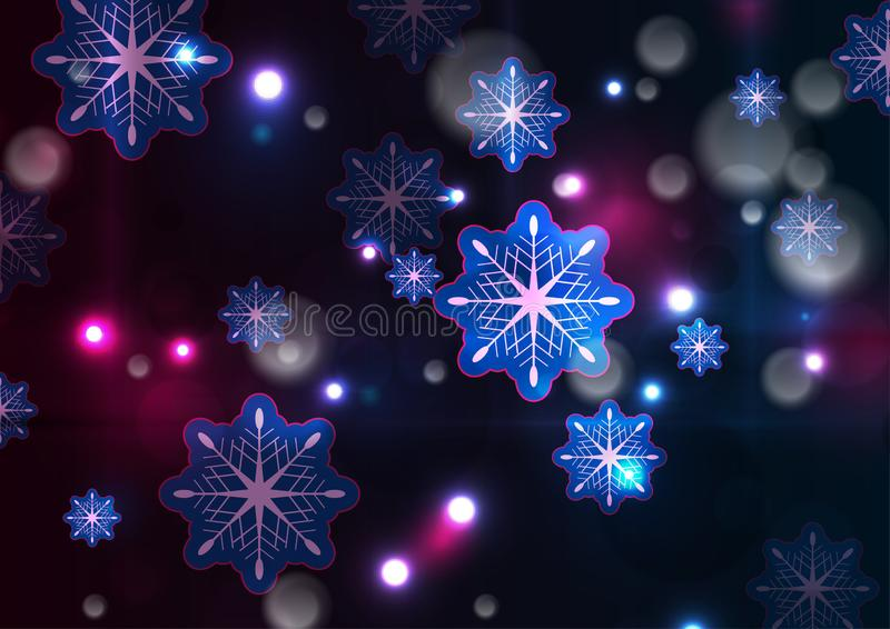 Glowing neon lights shiny Christmas winter background royalty free illustration