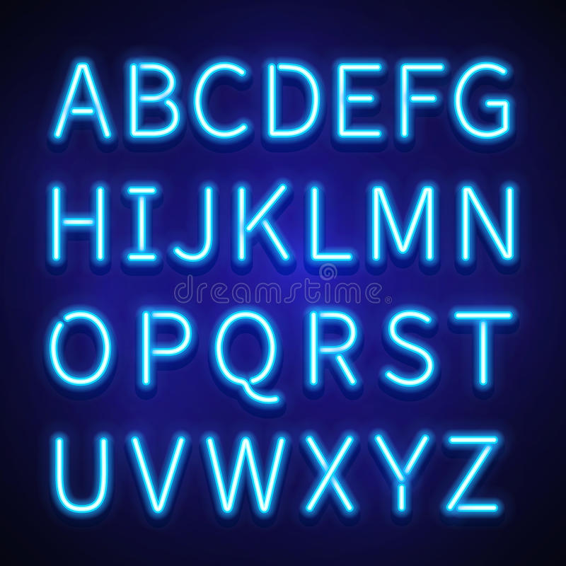 Download Glowing Neon Lights Vector Signs Typeset Letters Font Alphabet Stock