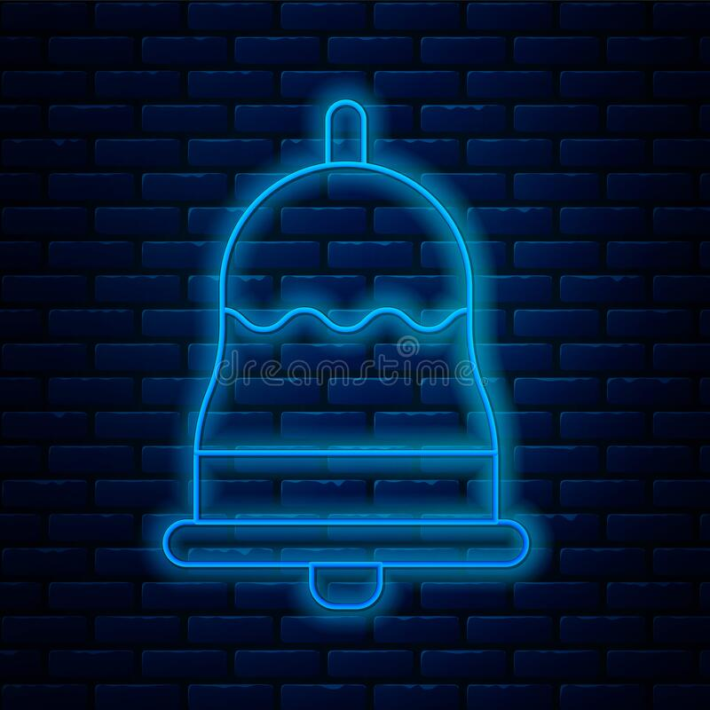 Glowing Neon Line Church Bell Icon Isolated On Brick Wall