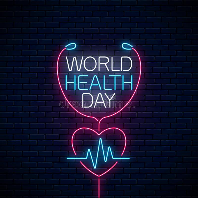 Glowing neon medicine concept sign with cardiogram graph in heart shape. World Health Day banner, symbol royalty free illustration