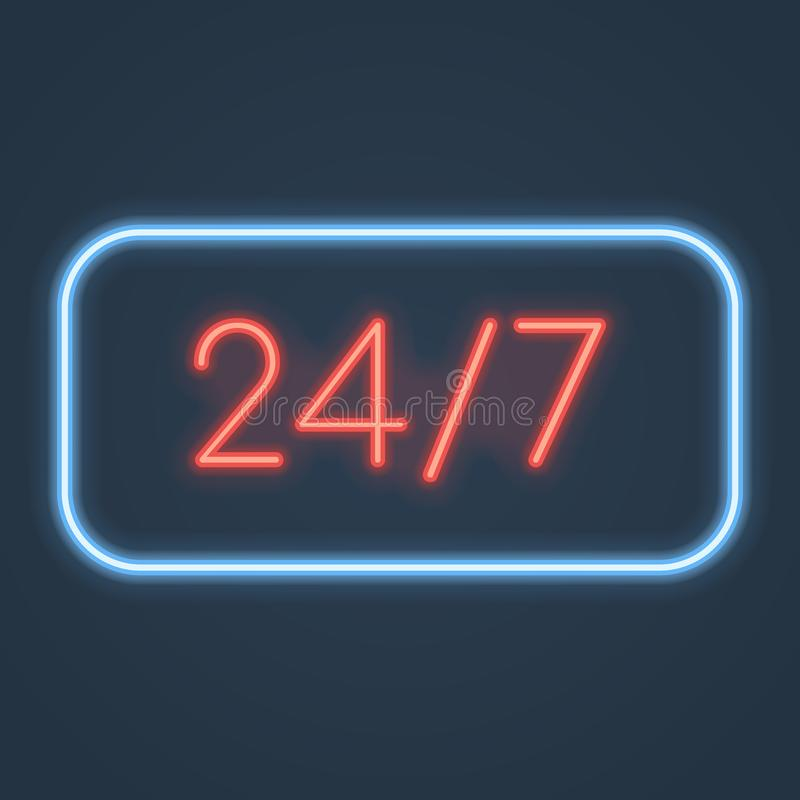 Glowing neon open 24 7 hours sign. Vector illustration. stock illustration