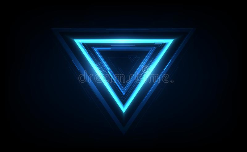 Glowing  neon rounded triangle on dark background. Illuminated geometric polygon frame. Vector illustration stock illustration