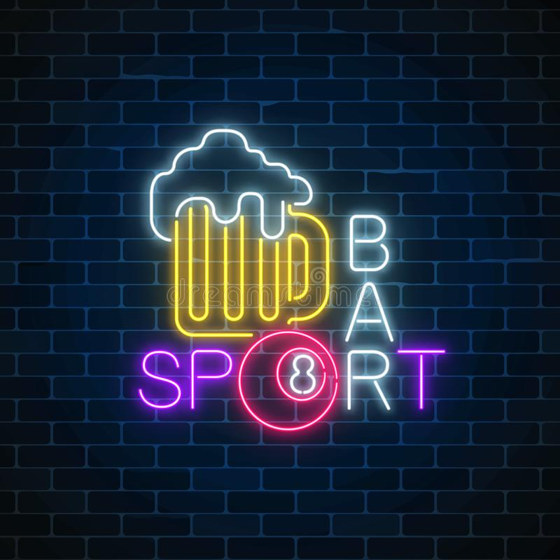 Glowing neon sign of bar with billiards including glass of beer and billiard ball. Signboard of pub with pool table. Vector illustration on dark brick wall royalty free illustration