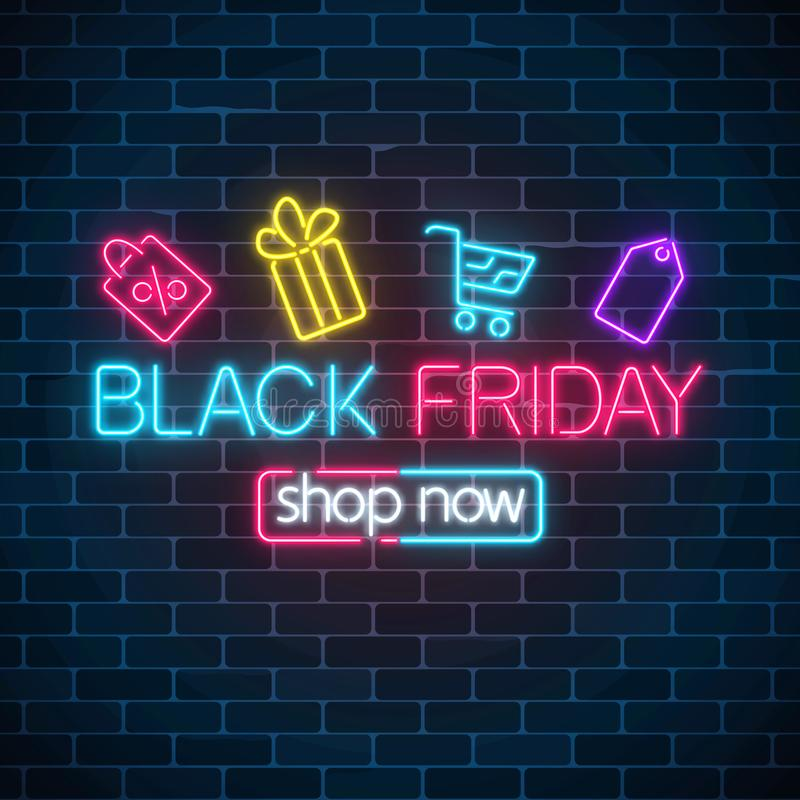 Glowing neon sign of black friday sale with shopping symbols. Seasonal sale web banner. Black friday light signboard. vector illustration