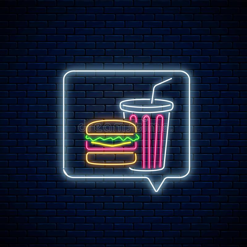 Glowing neon sign of burger and soda drink cup in message notification frame. Food and drink symbol in speech bubble stock illustration