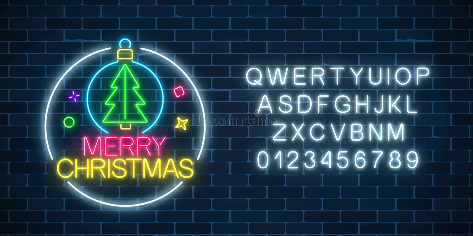 Glowing neon sign with christmas tree in christmas ball and alphabet. Christmas symbol web banner in neon style. royalty free illustration