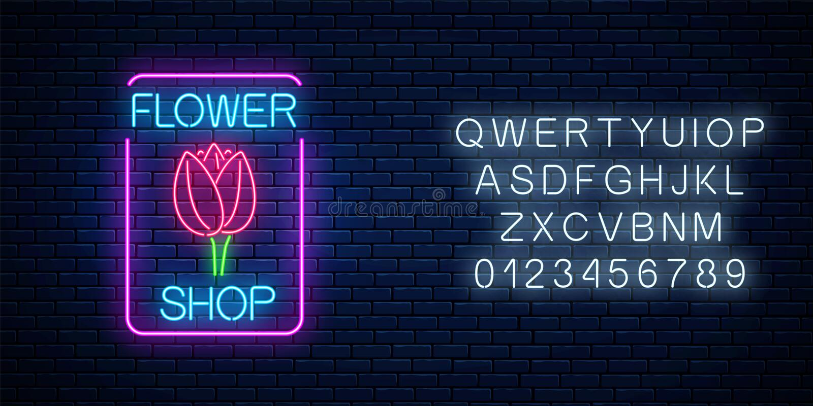 Glowing neon sign of floral shop in rectangle frame with alphabet . Design of flower store signboard with tulip. Glowing neon sign of floral shop in rectangle vector illustration