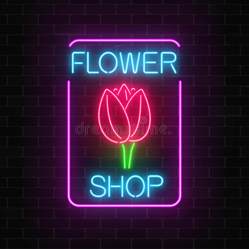 Glowing neon sign of floral shop in rectangle frame. Design of flower store signboard with tulip. Glowing neon sign of floral shop in rectangle frame on dark stock illustration