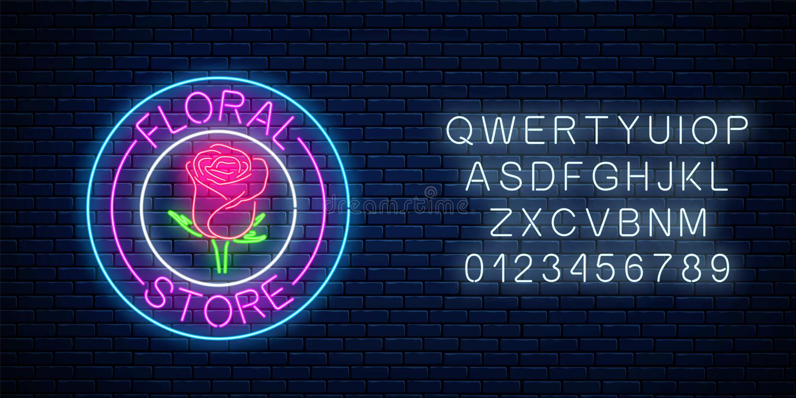 Glowing neon sign of floral store in round frames with alphabet. Design of flower shop signboard. Glowing neon sign of floral store in round frames with alphabet vector illustration