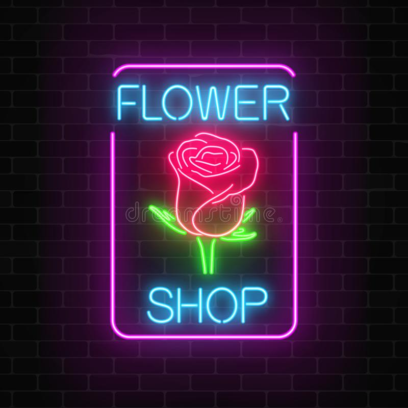 Glowing neon sign of flower shop in rectangle frame on dark brick wall background. Design of floral store signboard. Street lights advertisement. Vector vector illustration