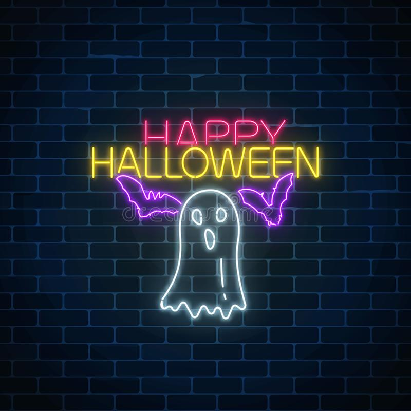 Glowing neon sign of halloween banner design with ghost silhouette and bats. Bright halloween scary sign neon style. Glowing neon sign of halloween banner vector illustration