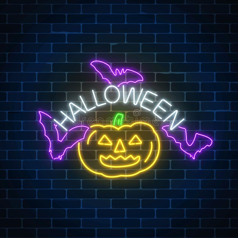 Glowing neon sign of halloween banner design with pumpkin and bats. Bright halloween night scary sign neon style. royalty free illustration