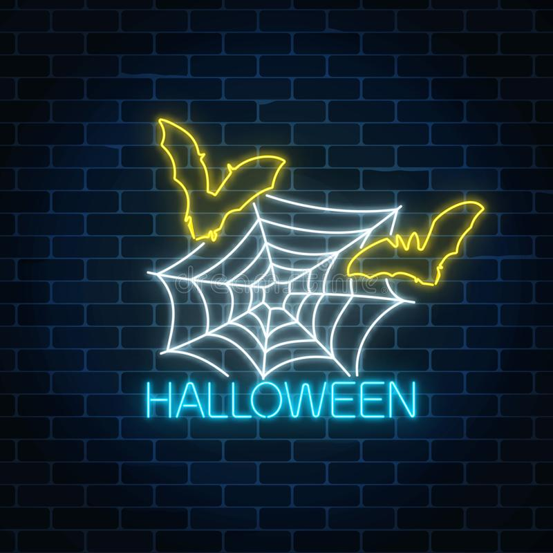 Glowing neon sign of halloween banner design with spidrer web and bats. Bright halloween night scary sign neon style. stock illustration