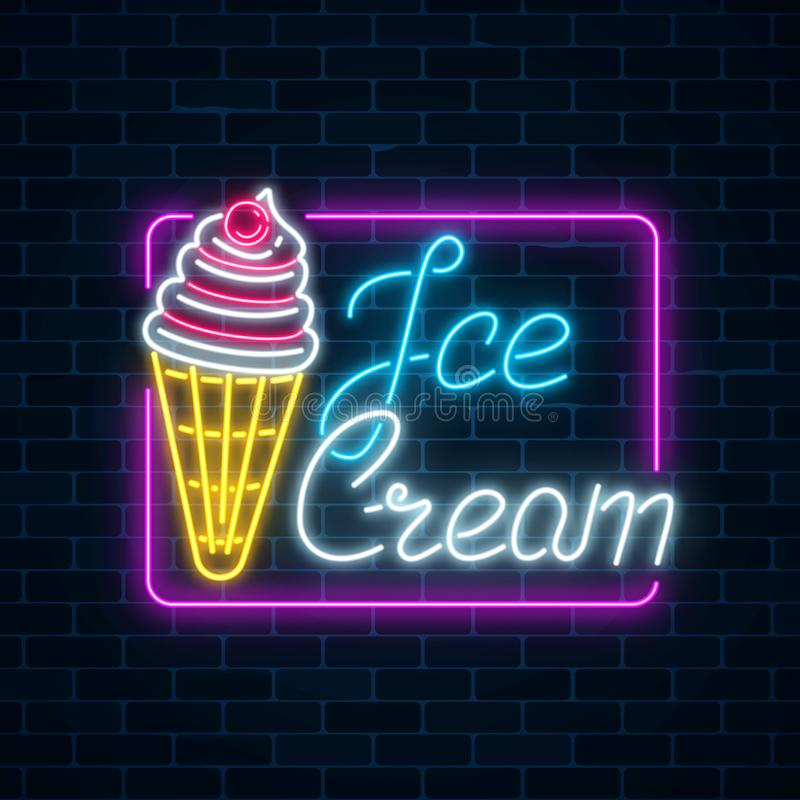Glowing neon sign of ice cream with cherry on dark brick wall background. Fruit ice-cream in waffle cone. stock illustration