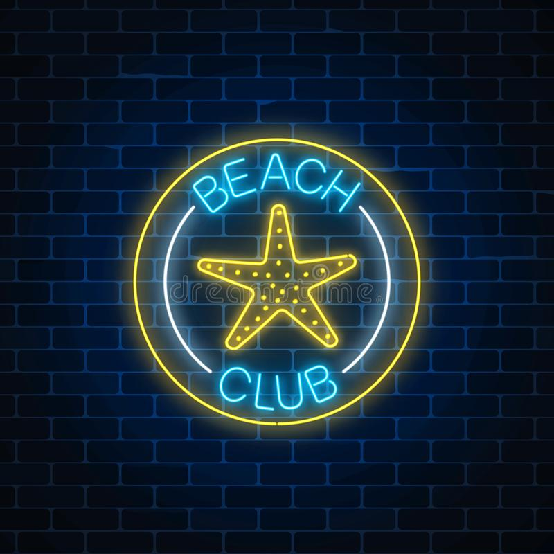Glowing Neon Sign Of Recreation Beach Club With Sea Star Symbol In
