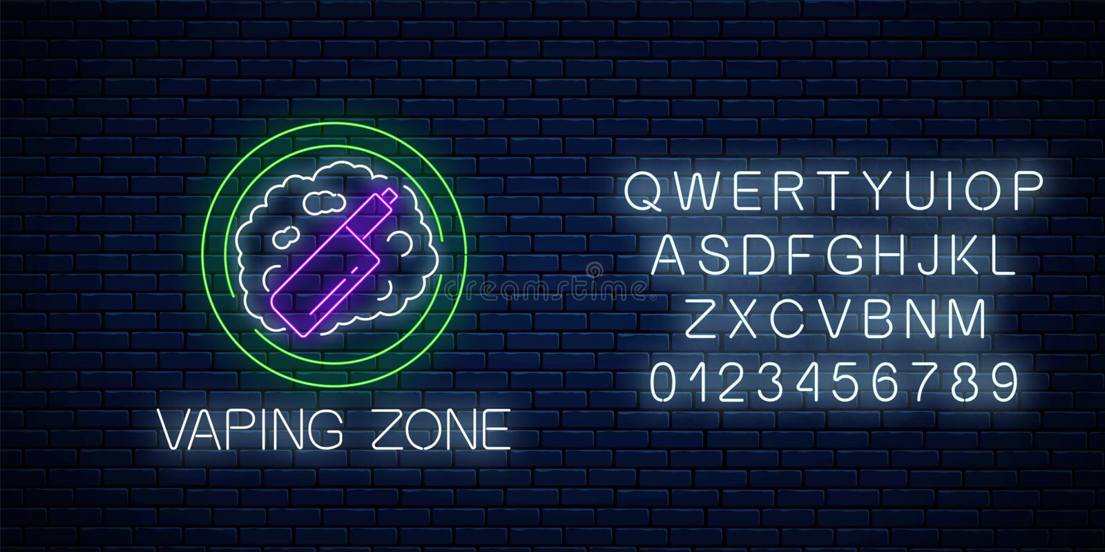 Glowing neon sign of vaping zone with alphabet. Vape kit area symbol. Signboard of smoking place vector illustration