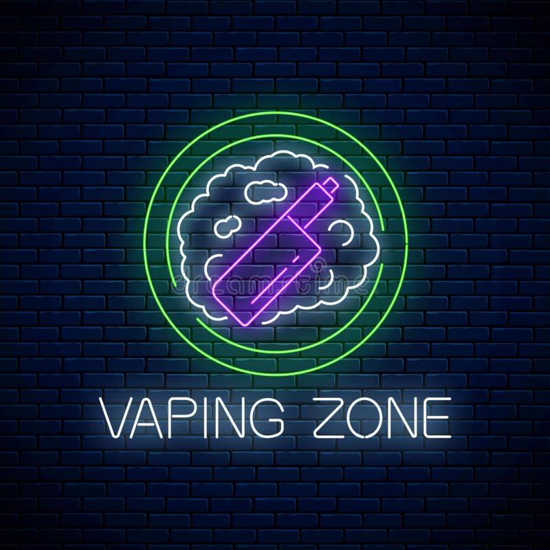 Glowing neon sign of vaping zone on dark brick wall background. Vape kit area symbol. Signboard of smoking place royalty free illustration