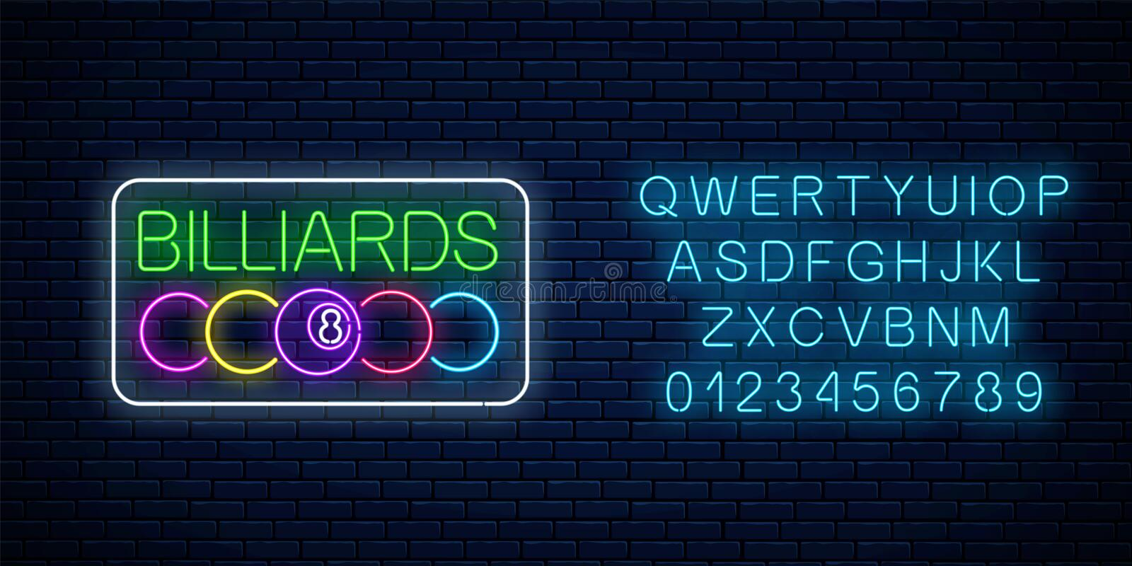 Glowing neon signboard of bar with billiards with alphabet. Billiard balls with text in rectangle frame. Night advertising symbol of taproom with pool game vector illustration