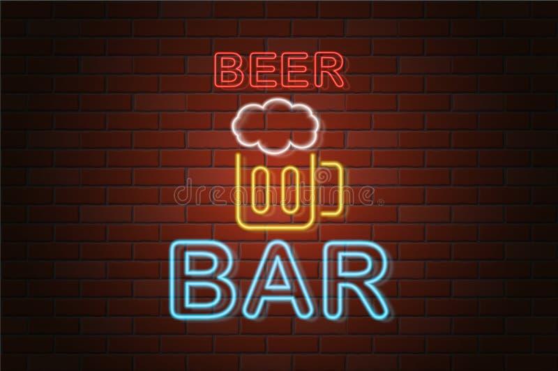 Glowing neon signboard beer bar vector illustration. On brick wall background vector illustration