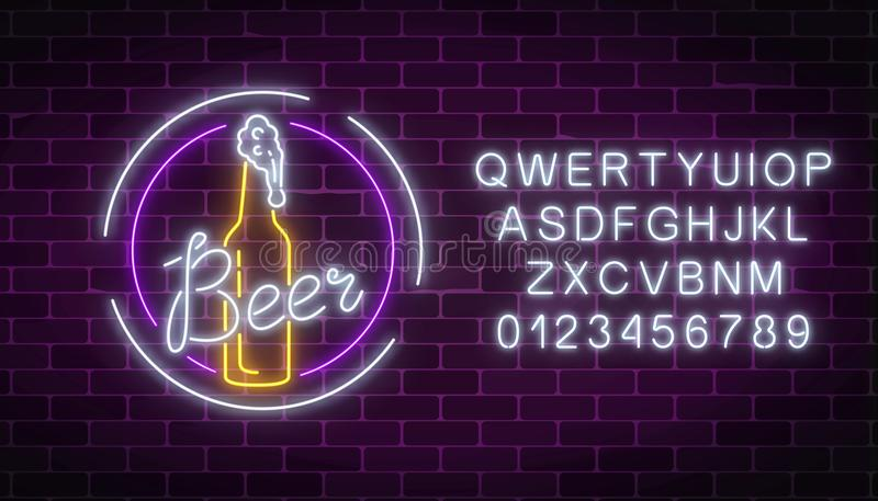Glowing neon signboard of beer bottle and glass in round frames with alphabet. Luminous advertising sign of beer bar. Glowing neon signboard of beer bottle and vector illustration