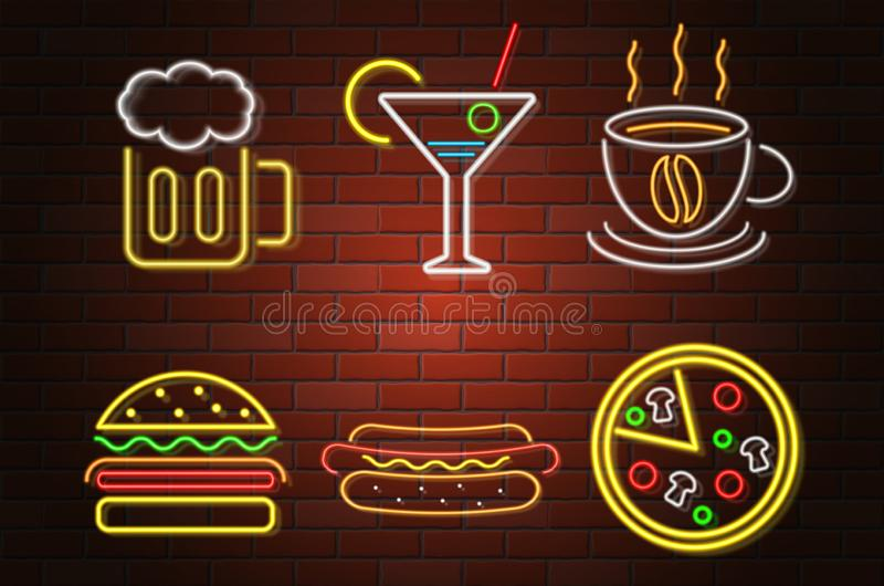 Glowing neon signboard fast food and drink vector illustration vector illustration