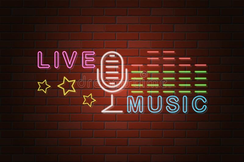 Glowing neon signboard live music vector illustration royalty free illustration