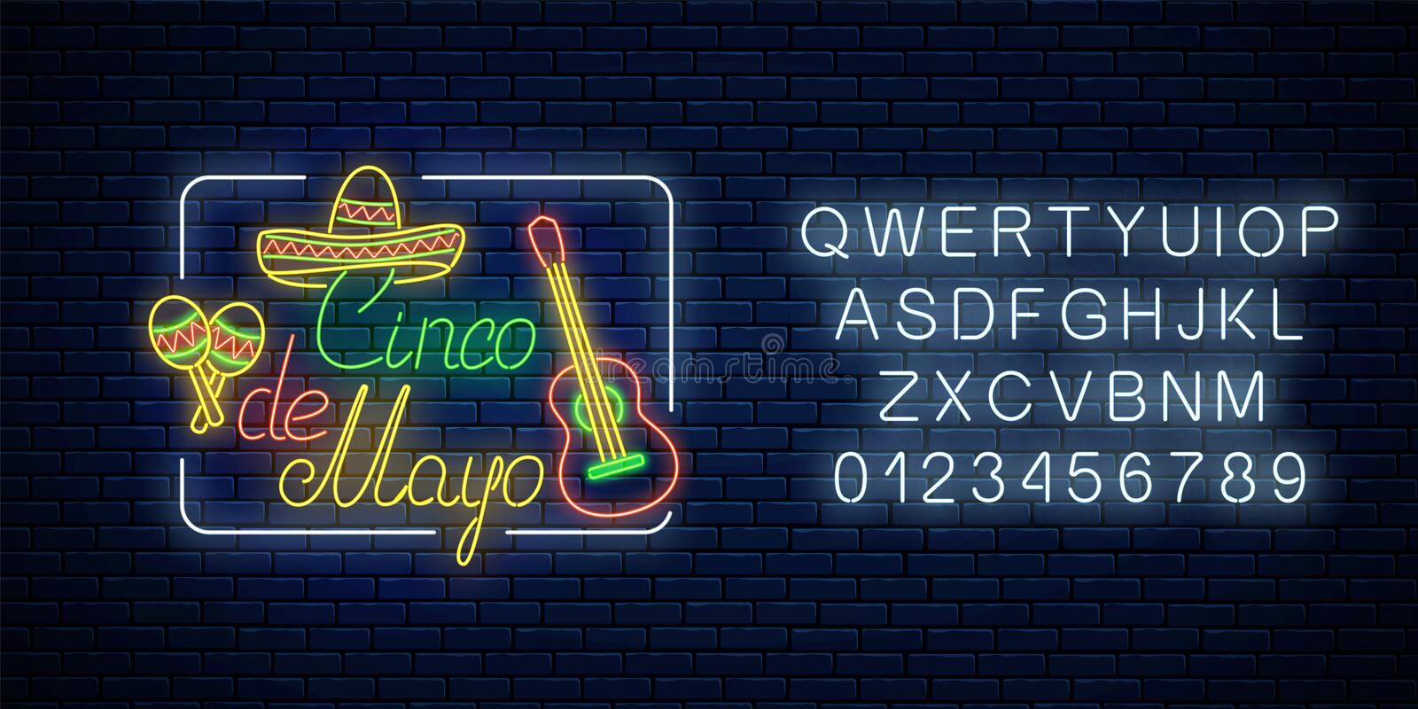 Glowing neon sinco de mayo holiday sign with alphabet. Mexican festival flyer design with guitar, maracas and sombrero. Glowing neon sinco de mayo holiday sign vector illustration