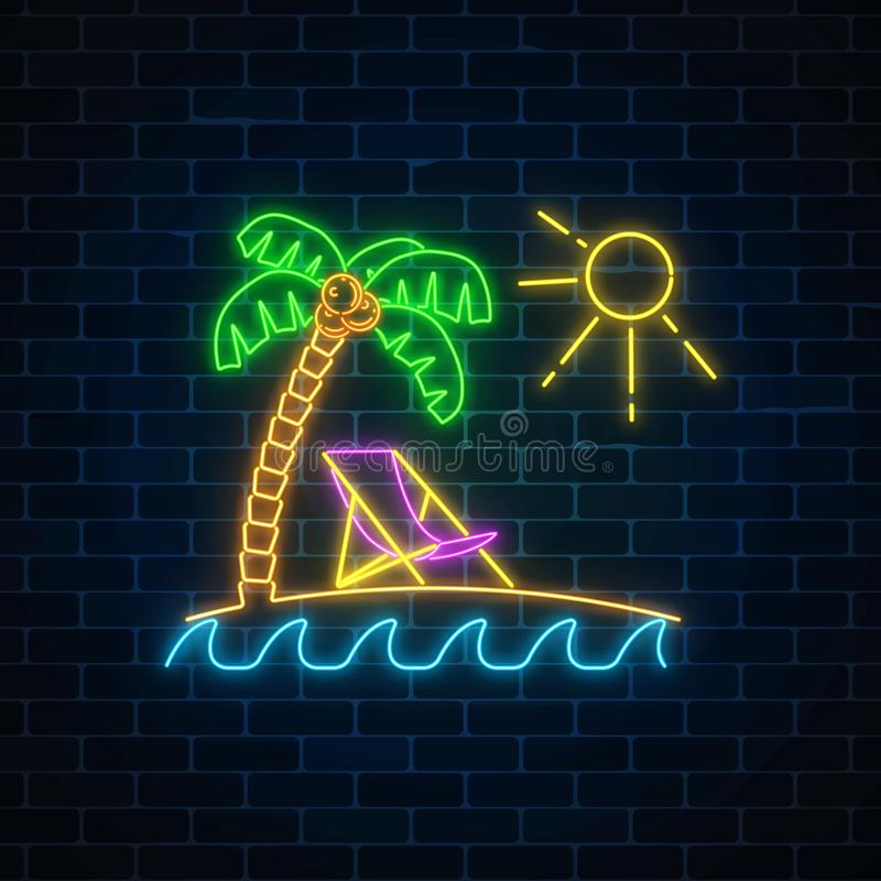 Glowing neon summer sign with palm, sun, chaise-longue and ocean on dark brick wall background. Shiny summertime symbol. Deck chair on island beach near blue stock illustration