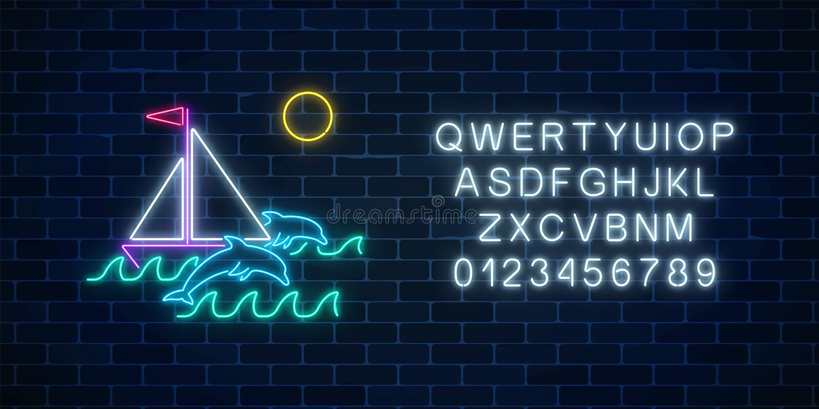 Glowing neon summer sign with sailing ship, dolphins in ocean in round frames and alphabet. Shiny summertime symbol. Glowing neon summer sign with sailing ship stock illustration