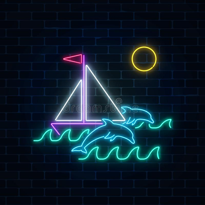Glowing neon summer sign with sailing ship and dolphins in ocean in round frames on dark brick wall background. Shiny summertime symbol. Vector illustration vector illustration