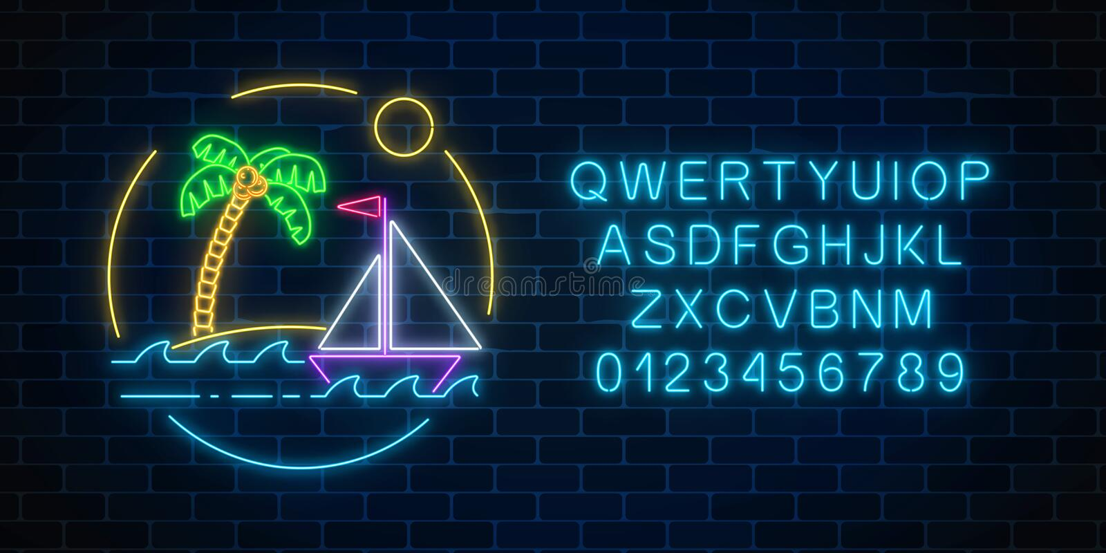Glowing neon summer sign with sailing ship and island with palm in ocean in round frames with alphabet. Glowing neon summer sign with sailing ship and island vector illustration