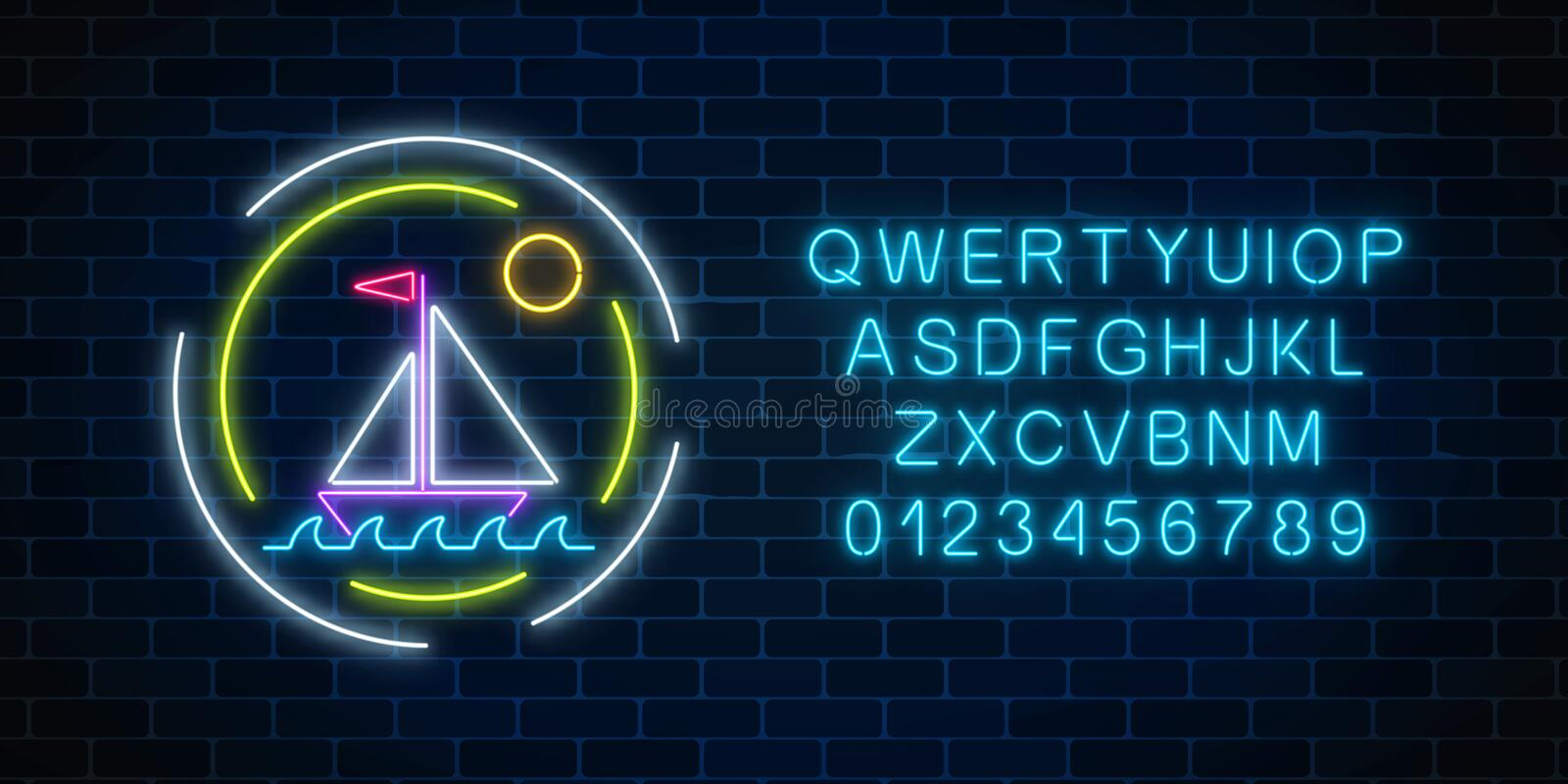 Glowing neon summer sign with sailing ship in ocean in round frames and alphabet. Shiny summertime symbol. Glowing neon summer sign with sailing ship in ocean stock illustration
