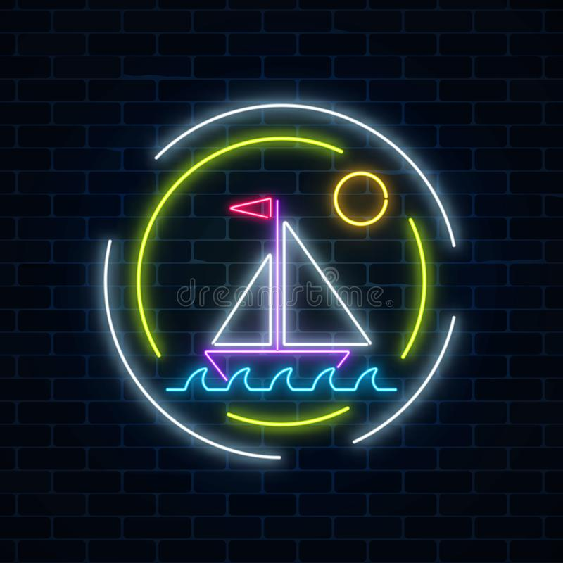 Glowing neon summer sign with sailing ship in ocean in round frames on dark brick wall background. Shiny summertime symbol. Vector illustration royalty free illustration