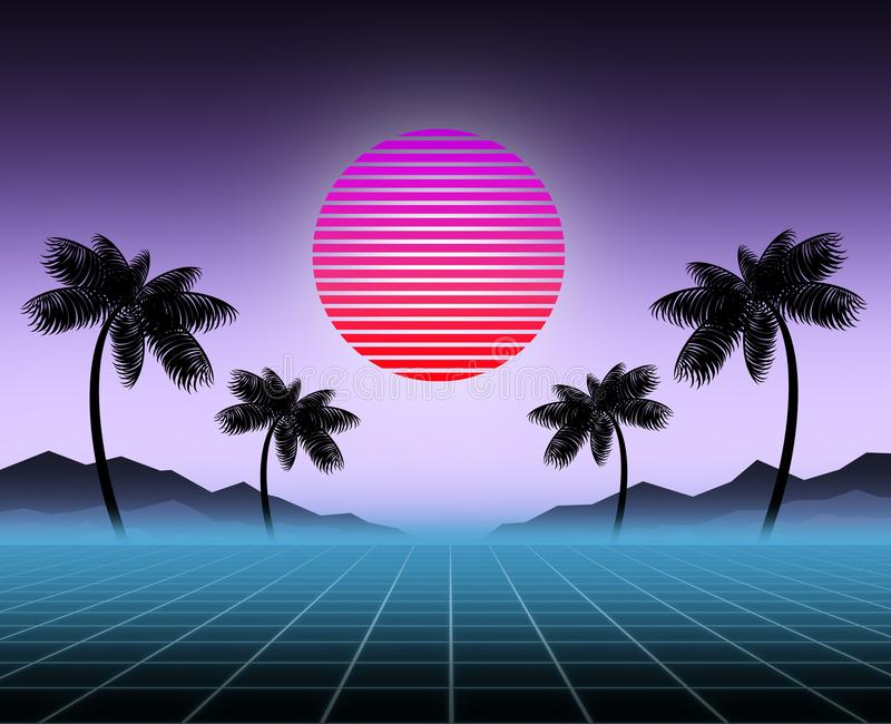Glowing neon, synthwave and retrowave background template. Retro video games, futuristic design, rave music, 80s stock photos