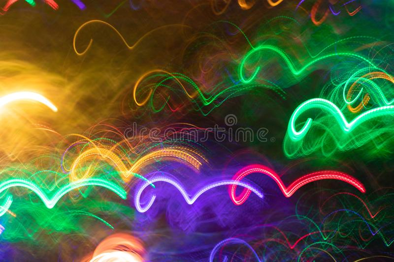 Glowing neon wavy lines similar as sea waves. stock photo