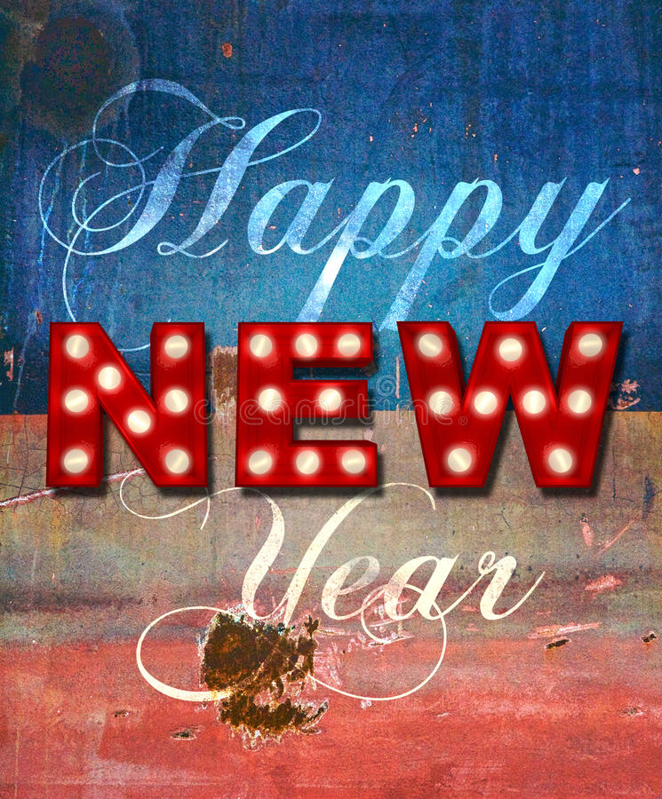 Glowing New Year greetings over distressed paint royalty free stock images